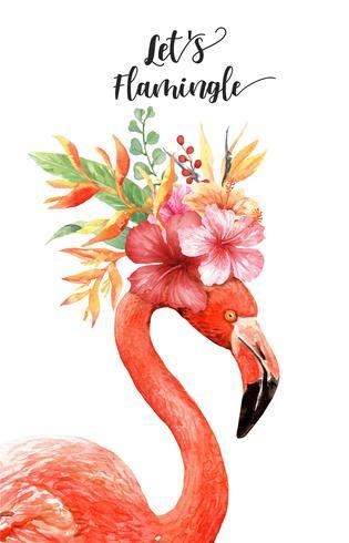 Aquarell-Flamingo mit tropischem Blumenstrauß auf Kopf