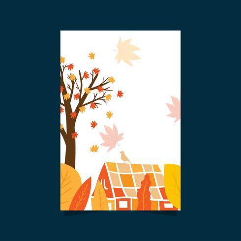 Herfst poster met bladeren, bomen en huis