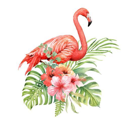 Flamingo em aquarela em elementos de buquê tropical.