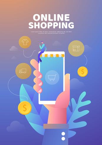 Shopping online blue  poster