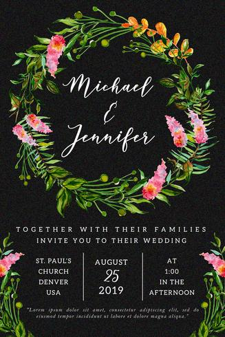 Tarjeta de invitación de boda floral acuarela