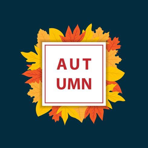 Bannière d'automne avec cadre carré vecteur