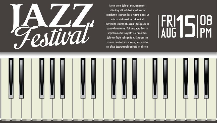 Cartel del festival de jazz con teclas de piano