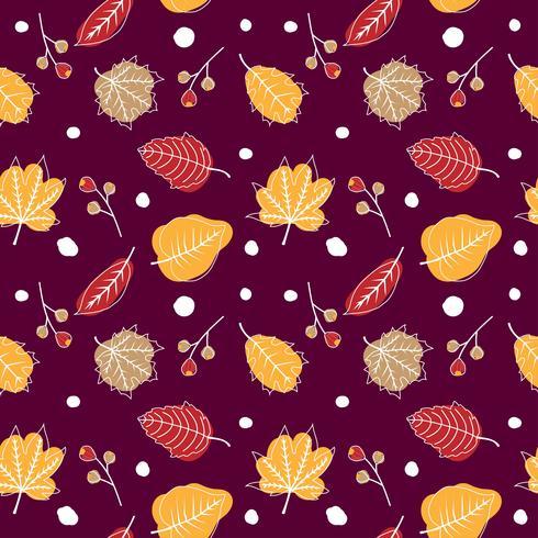 Joli modèle sans couture automne avec des feuilles vecteur