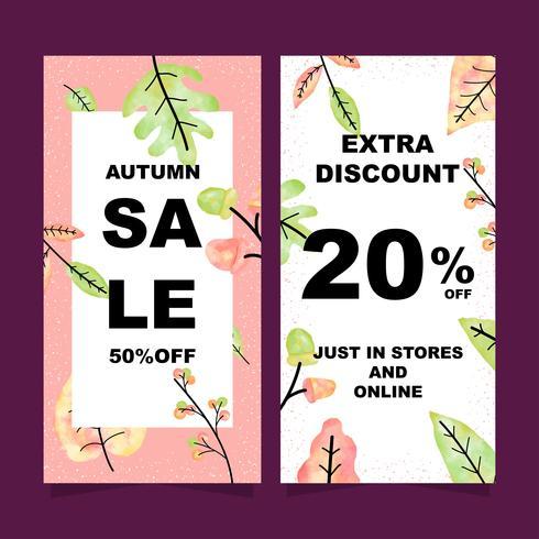 Bannières verticales de vente automne sertie de feuilles d'aquarelle vecteur
