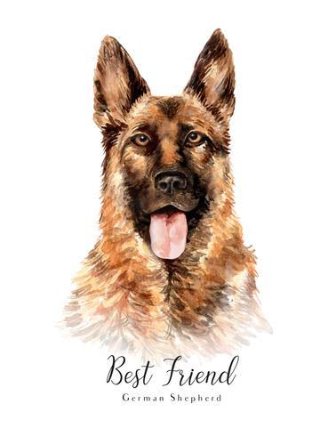 Aquarellporträt eines Schäferhunds Dog