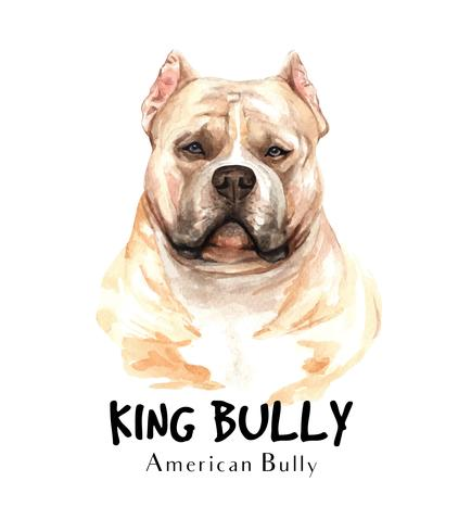 Watercolor portrait of American Bully dog