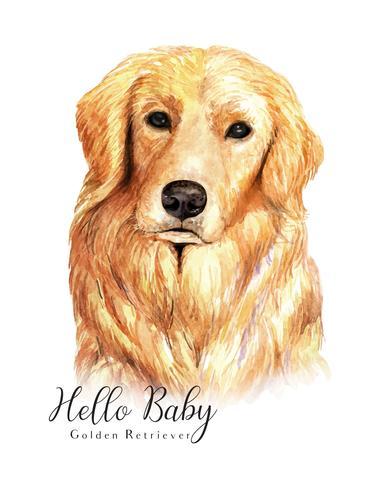 Ritratto dell'acquerello del cane di golden retriever