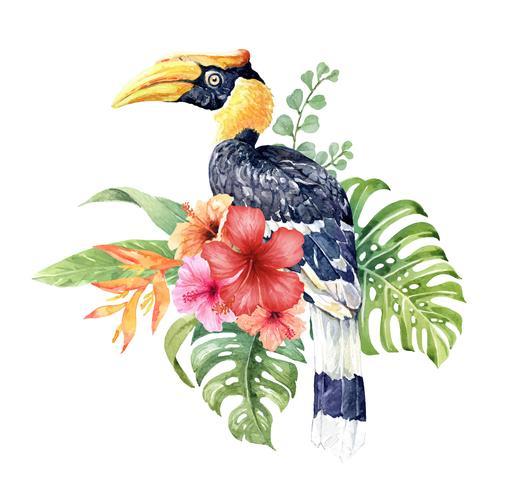 Aquarell tropischer großer Hornbill im Hibiscusblumenstrauß.
