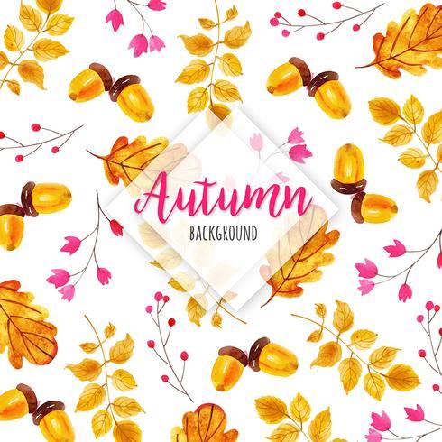 Fundo de folhas de outono em aquarela