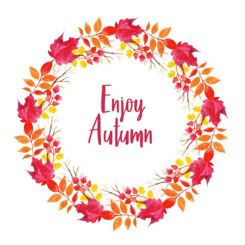 Beautiful Watercolor Autumn Leaves Wreath