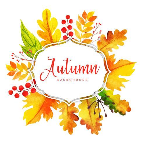 Quadro bonito de folhas de outono em aquarela