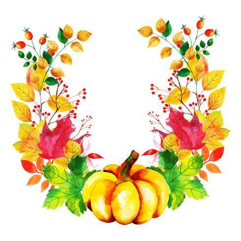 Guirnalda de hojas de otoño acuarela hermosa vector