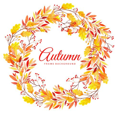Beautiful Watercolor Autumn Leaves Wreath