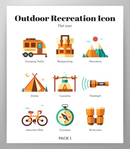Outdoor-Erholung Icons Flat Pack vektor