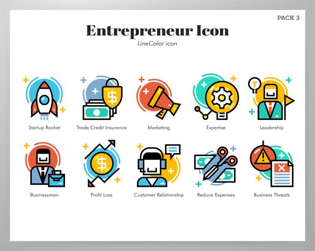 Ícones do empreendedor LineColor pack