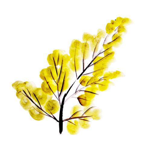 Feuille d'automne aquarelle jaune vecteur