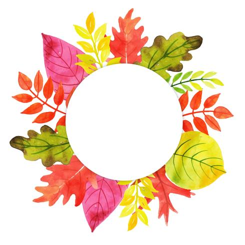 Watercolor Autumn Leaves Frame
