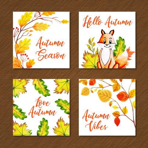 Collection de cartes automne belle aquarelle vecteur