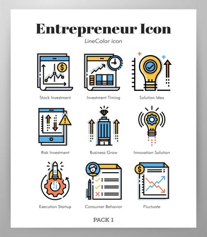 Pack Entrepreneur Icônes LineColor vecteur