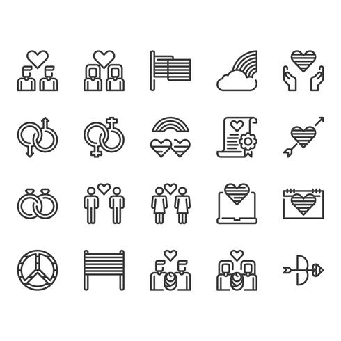 LGBT and decoration icon set