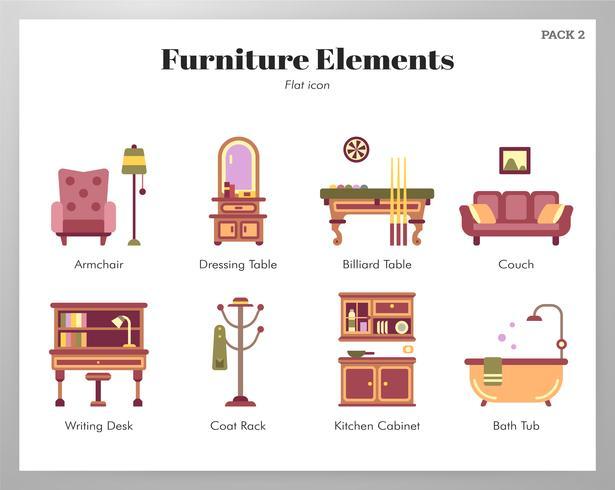 Éléments de meubles pack plat vecteur