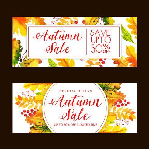 Insieme dell'insegna di vendita di autunno dell'acquerello vettore