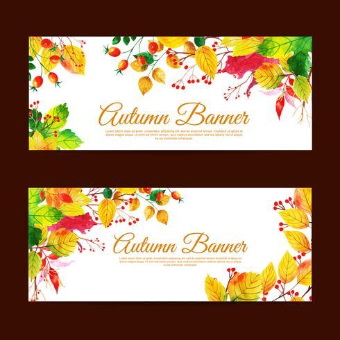 Ensemble de bannière magnifique vente aquarelle automne vecteur
