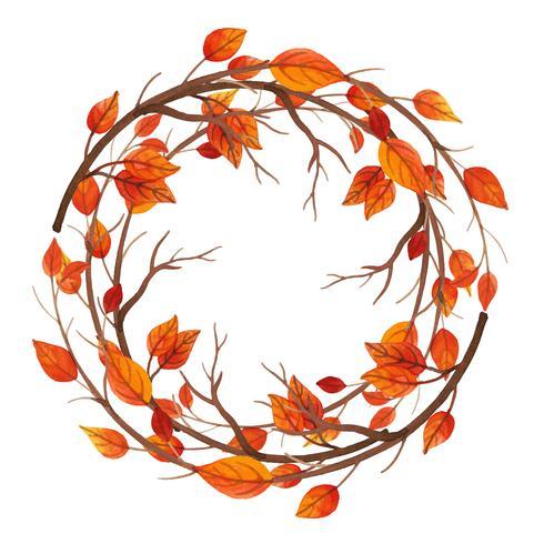 Cadre aquarelle feuilles d'automne vecteur