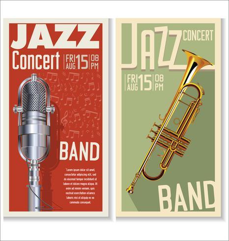 Conjunto de banner de festival de jazz vector