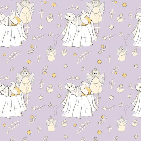 Seamless pattern of christening infant