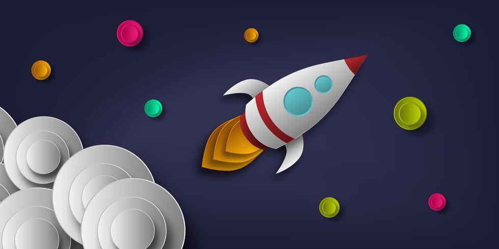 Paper Cut Rocket se dirige vers l'espace vecteur