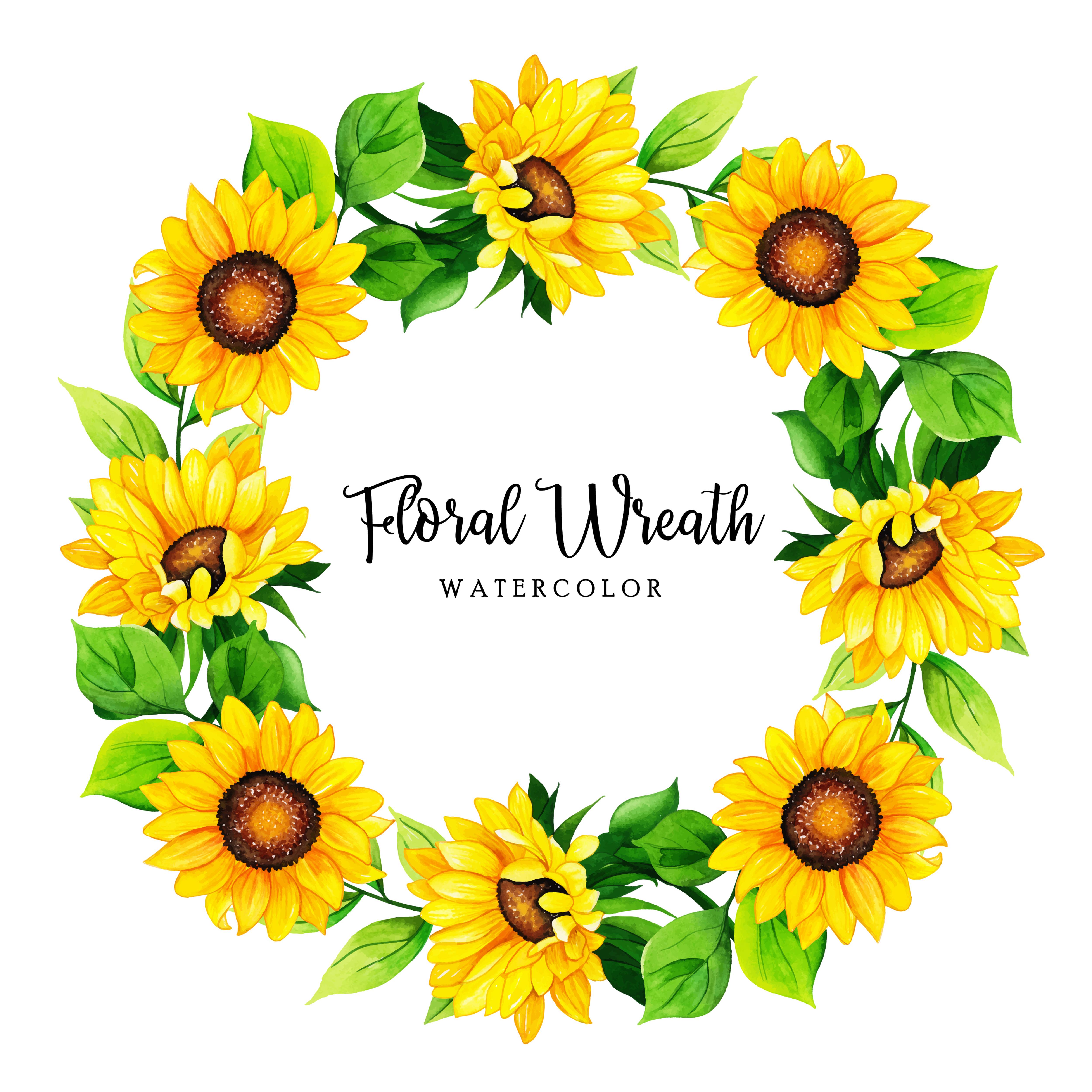 Sunflower Wreath Free Vector Art 15 Free Downloads