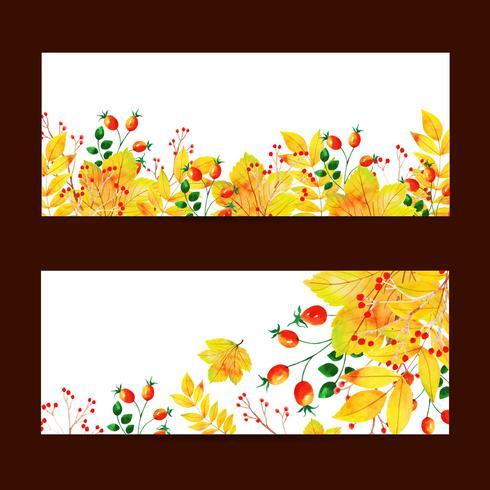 Bellissimo set di banner autunno vendita autunno vettore