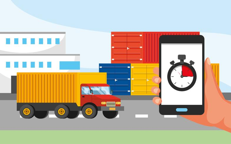 Trucking service with hand holding phone with stopwatch graphic  vector