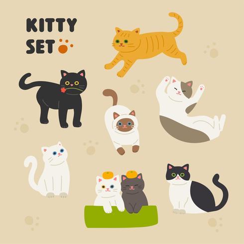 Ensemble de chats mignons vecteur