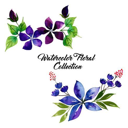 Coleção floral em aquarela