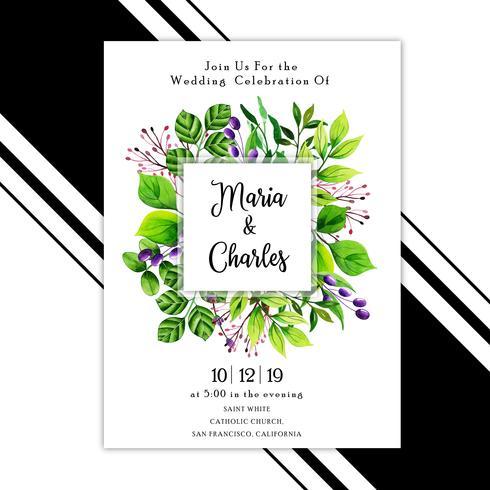 Aquarela deixa cartão de convite de casamento vetor
