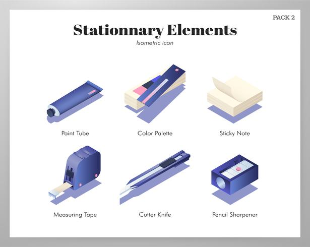 Stationnary elements Isometric pack vector