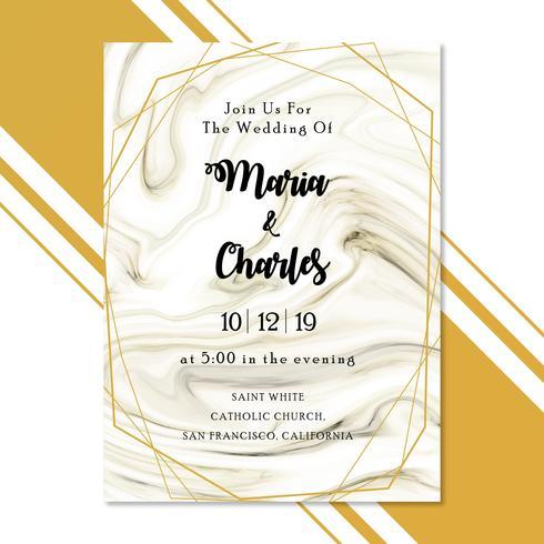 Tarjeta de invitación de boda de mármol con marco dorado