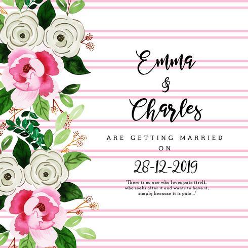 Cartão de convite de casamento Floral aquarela com listras vetor