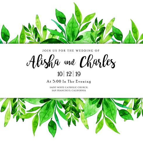 Watercolor Leaves Wedding Invitation Card