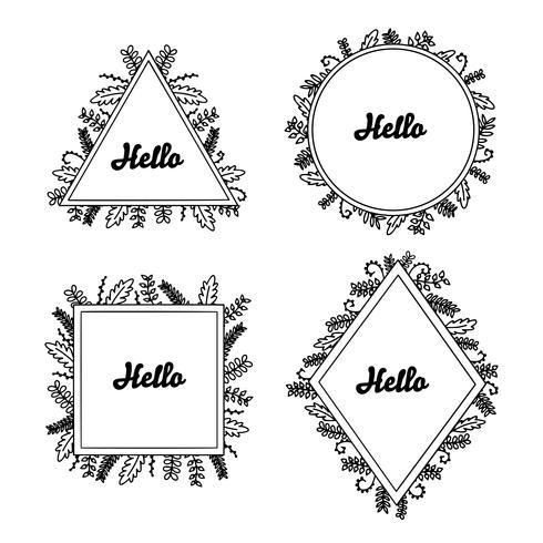 Marcos florales dibujados a mano con Hello set para branding