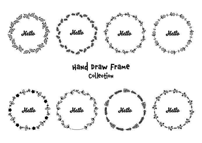 Conjunto de marcos redondos florales dibujados a mano con la palabra hola