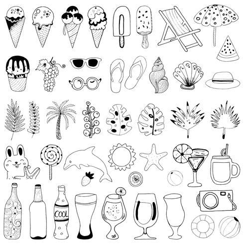 Colección de elementos de verano dibujados a mano