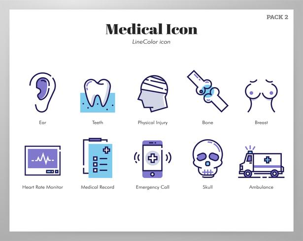 Medical icons LineColor pack vector