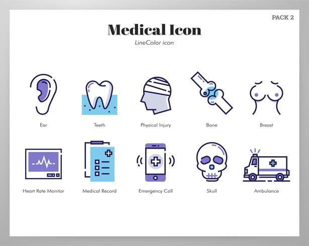 Icone mediche Pack LineColor vettore