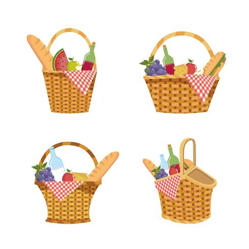 Set of picnic basket with food and tablecloth decoration