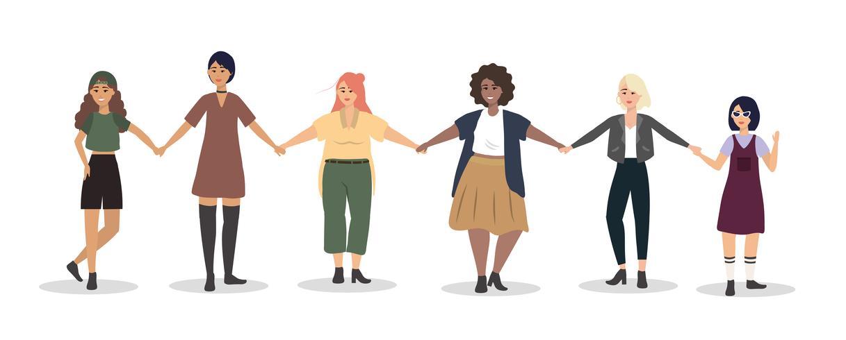 Conjunto de mujeres jóvenes tomados de la mano