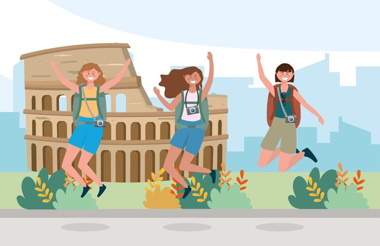 Amigas saltando delante del Coliseo vector